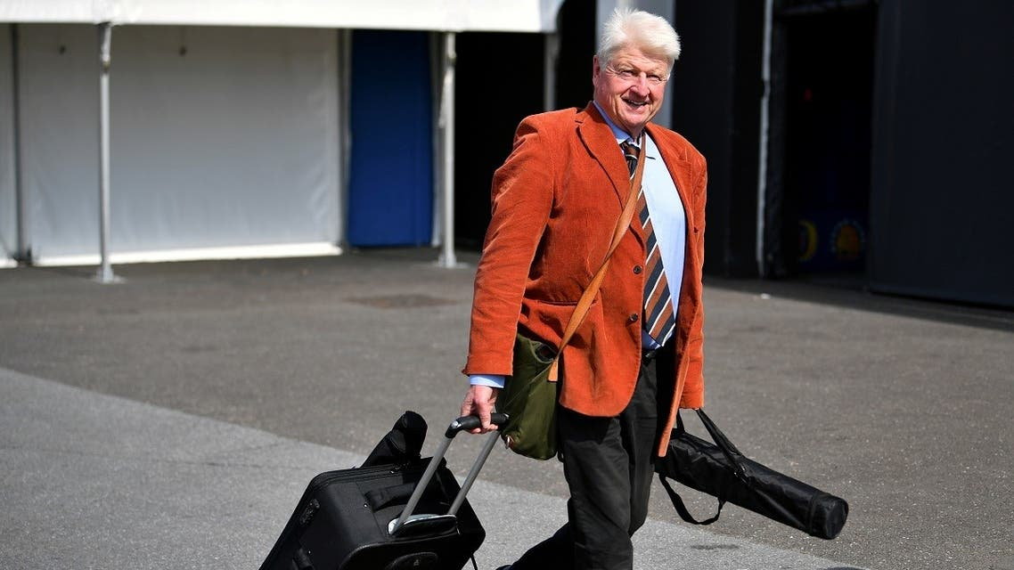 Stanley Johnson, father of Boris Johnson, arrives at a hustings event with Britain's Conservative Party leadership candidates Boris Johnson and Jeremy Hunt, in Exeter, Britain, June 28, 2019. REUTERS