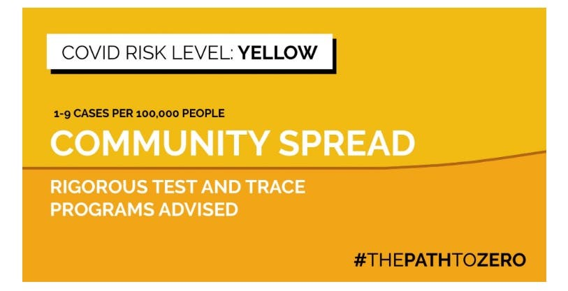 The COVID-19 yellow risk level map developed by Harvard's Global Health Institute and Edmond J. Safra Center for Ethics. (Screengrab)