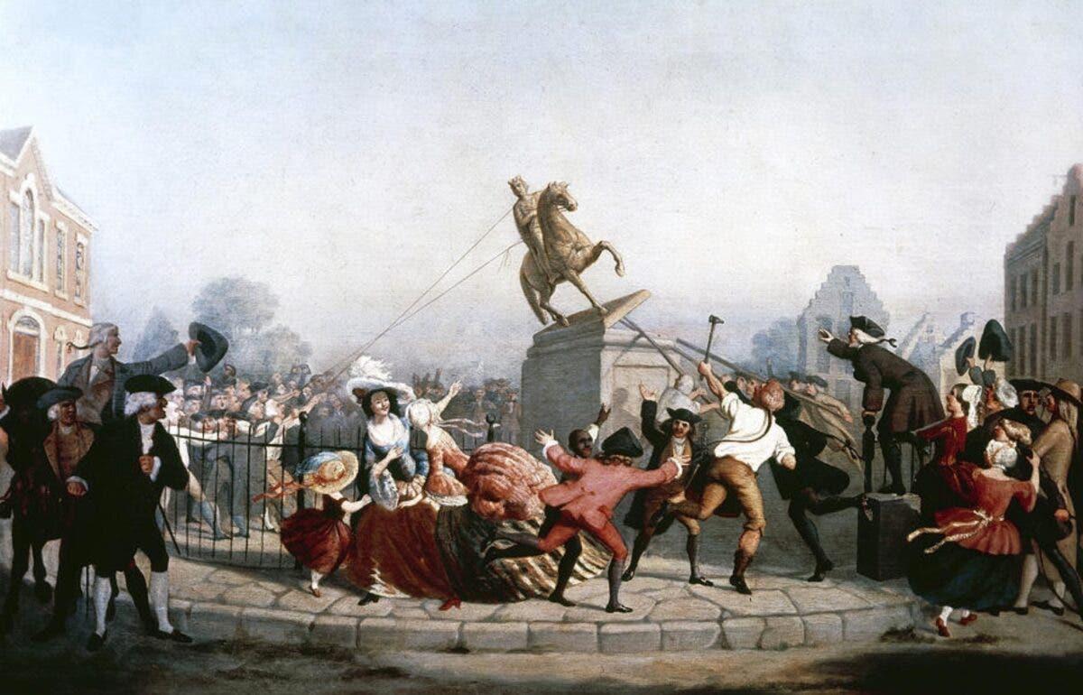 رسم تخيلي لحادثة ازالة تمثال جورج الثالث