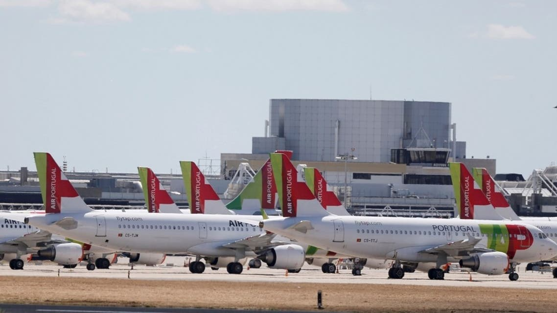 TAP planes are seen at Lisbon's airport during the coronavirus disease (COVID-19) outbreak, in Lisbon, Portugal. (Reuters)