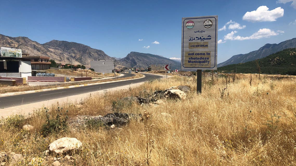 A view shows the entrance to the town of Sheladize after the Turkish airstrikes, in the north of Dohuk province close to the Turkish border, Iraq June 22, 2020. Picture taken June 22, 2020. REUTERS/Kawa Omar NO RESALES. NO ARCHIVES.