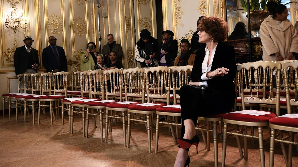 French actress Fanny Ardant waits for the start of Imane Ayissi Women's Spring-Summer 2020 Haute Couture collection fashion show in Paris, on January 23, 2020.