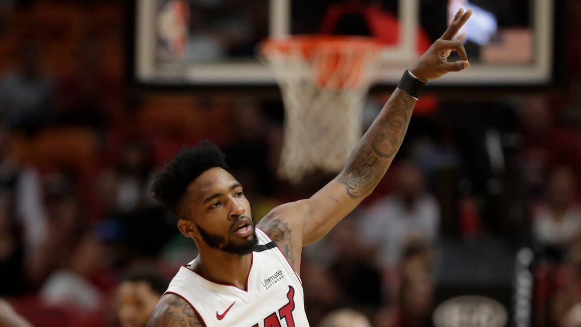 Miami Heat forward Derrick Jones Jr. celebrates a three-point shot. (AP)