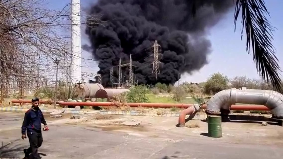 A power plant in the southwestern Iranian city of Ahwaz catches fire following an explosion. (Screengrab)