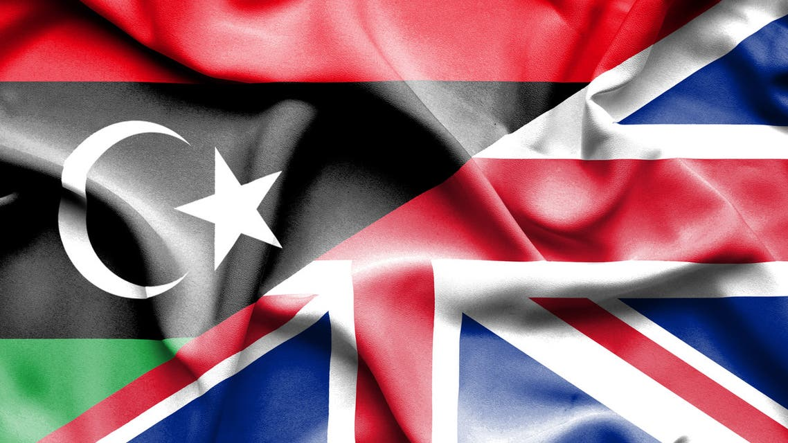 Waving flag of United Kingdon and Libya stock illustration