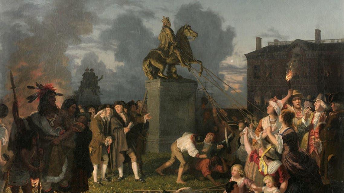 لوحة زيتية تجسد حادثة اقتلاع تمثال الملك جورج الثالث بنبورك