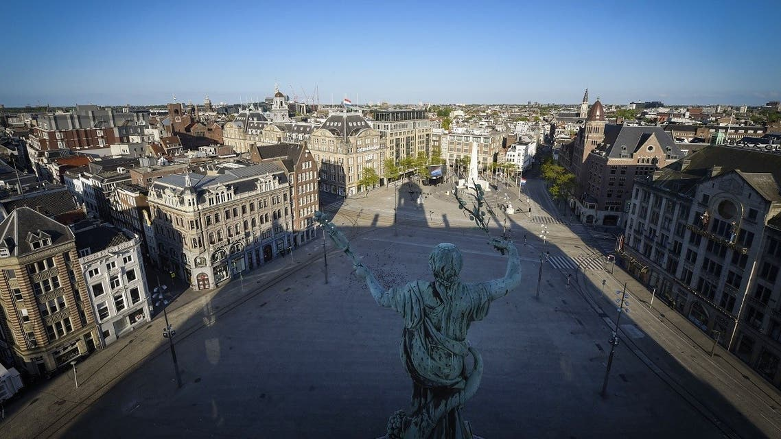 A picture taken on May 4, 2020 from the Royal Palace shows a general view of Dam Square in Amsterdam during the coronavirus lockdown. (AFP)