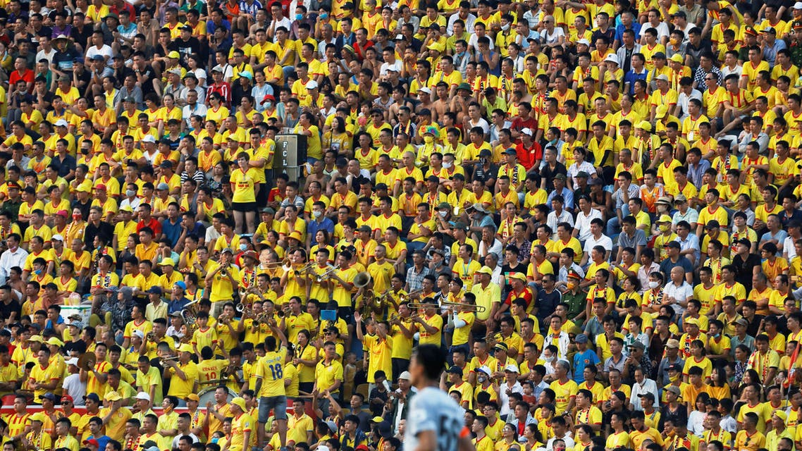Soccer fans attend a soccer match between Viettel and Duoc Nam Ha Nam Dinh in Vietnam, June 5, 2020. (Reuters)