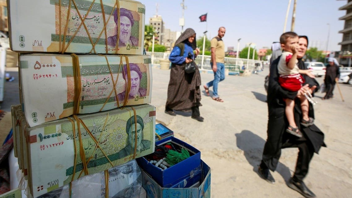 Iranian rials are seen at a market in the holy city of Najaf, Iraq. (Reuters)