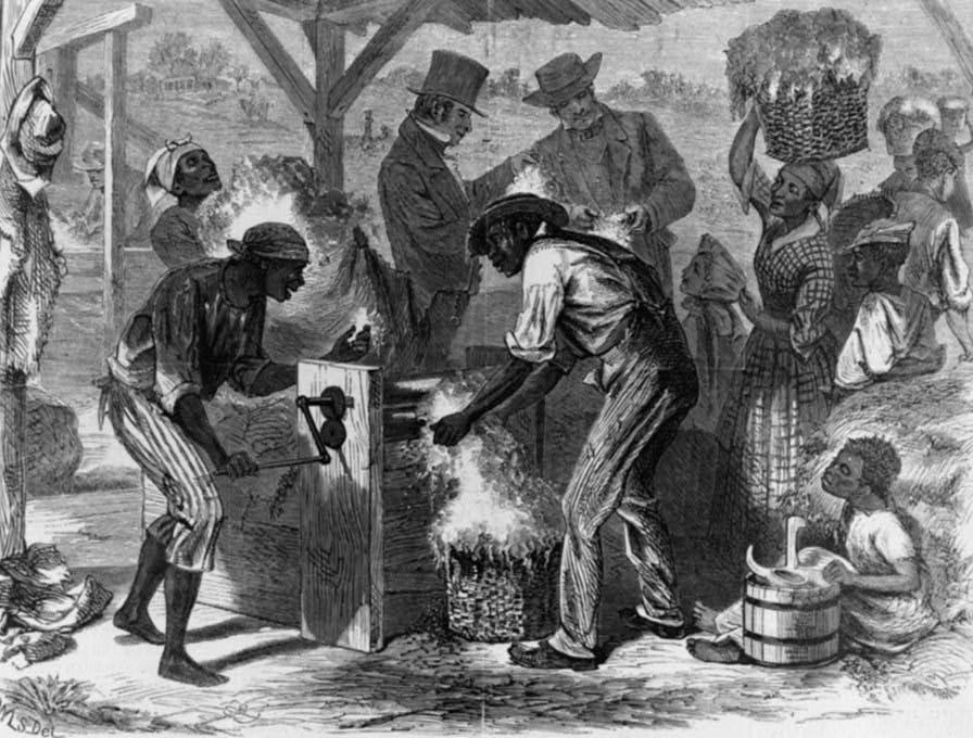 رسم تخيلي يجسد عددا من العبيد بمزارع القطن