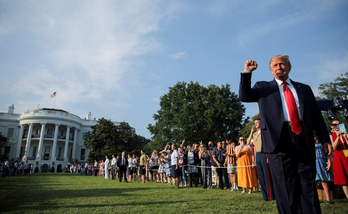 US President Donald Trump thrusts his fist as he arrives on the White House South Lawn to host a 4th of July 2020 Salute to America to celebrate the US Independence Day holiday at the White House in Washington, US. (Reuters)