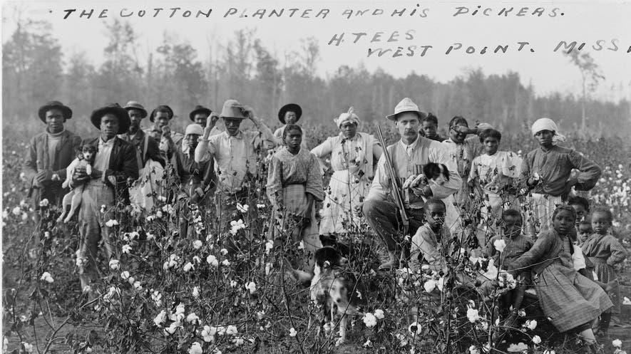 صورة لعدد من العبيد رفقة سيدهم بمزرعته