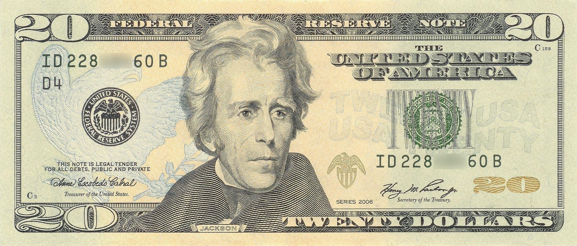 ورقة نقدية بقيمة 20 دولارا عليها صورة الرئيس أندرو جاكسون