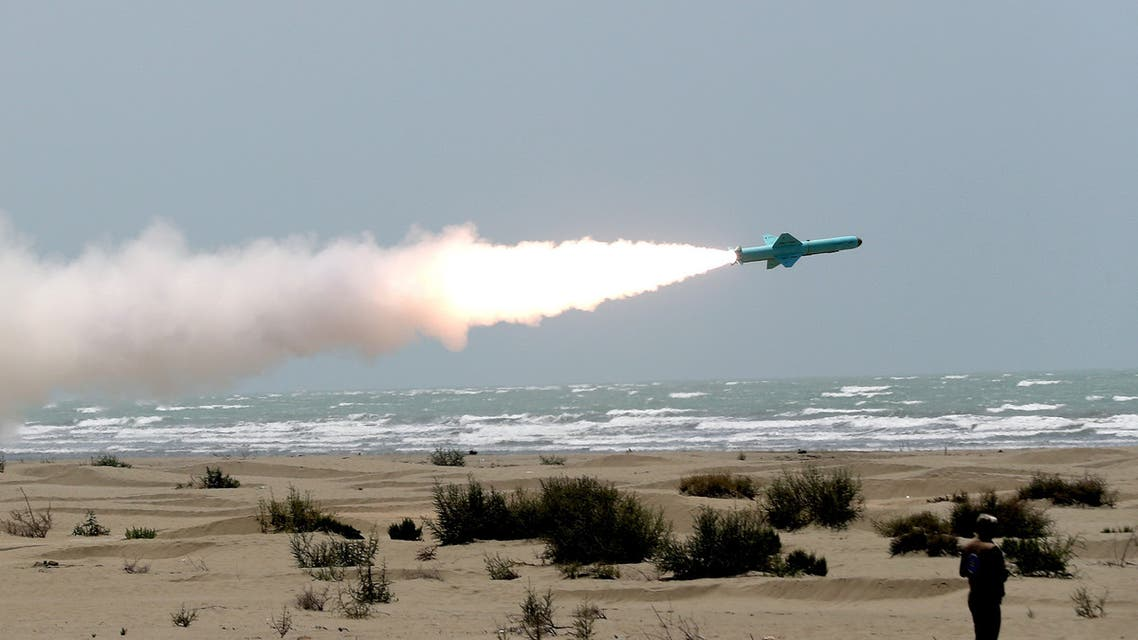 An Iranian locally made cruise missile is fired during war games in the northern Indian Ocean and near the entrance to the Gulf, Iran, June 17, 2020. (WANA via Reuters)