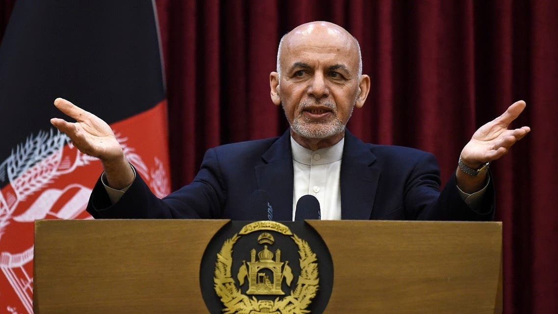 Afghan President Ashraf Ghani gestures as he speaks during a press conference at the presidential palace in Kabul on March 1, 2020. (AFP)