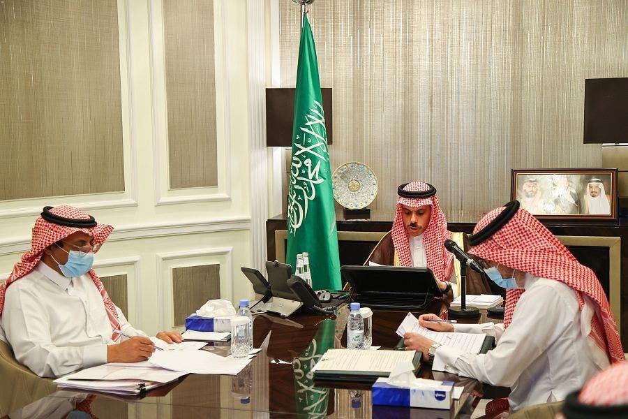 وزير الخارجية السعودي الأمير فيصل بن فرحان خلال الاجتماع