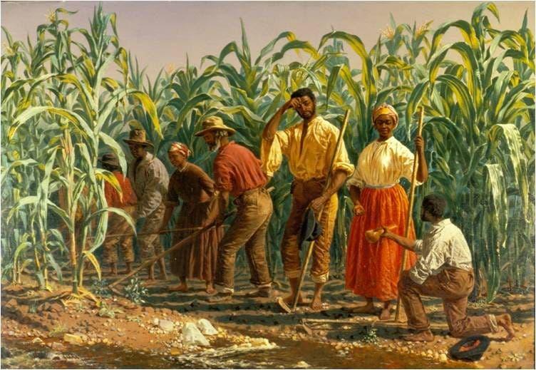 لوحة تجسد عددا من العبيد أثناء عملهم بإحدى مزارع قصب السكر