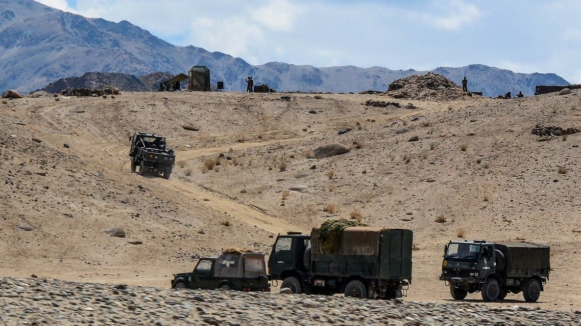Indian army soldiers drive vehicles along mountainous roads as they take part in a military exercise at Thikse in Leh district of the union territory of Ladakh on July 4, 2020. (AFP)
