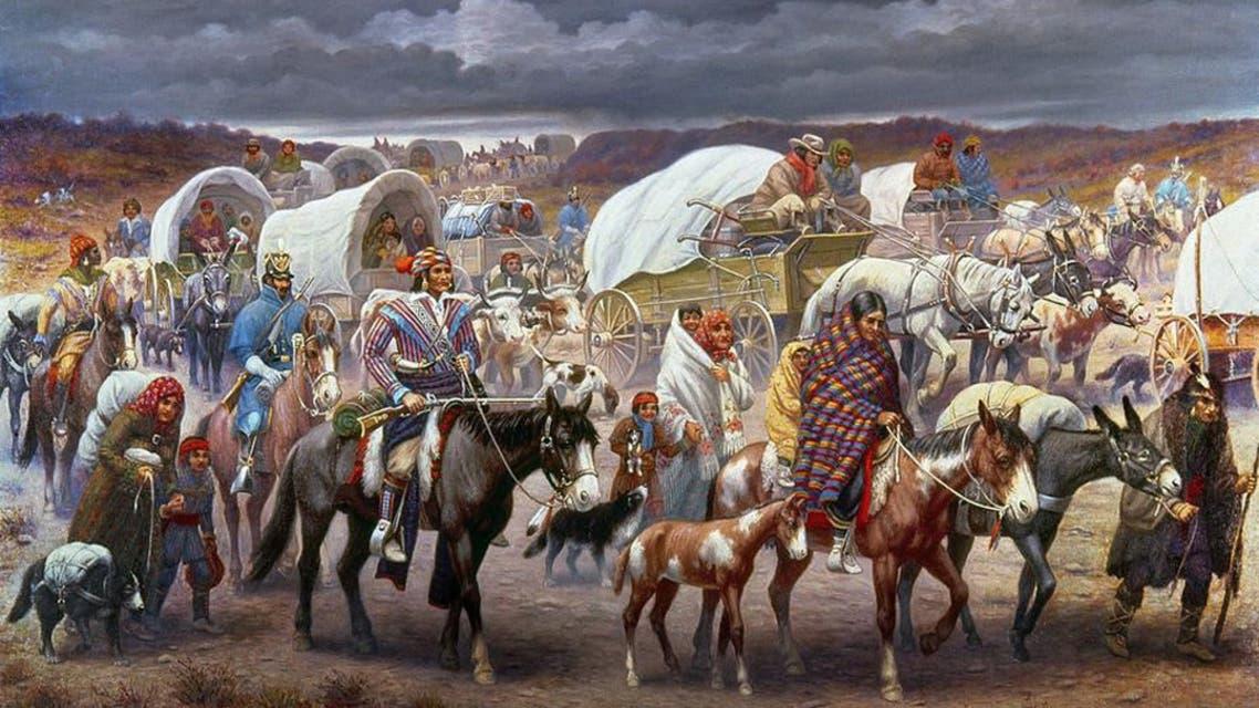 لوحة تجسد عمليات تهجير السكان الأصليين