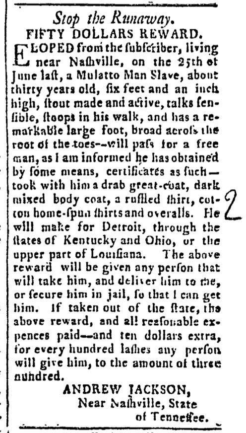 صورة لإعلان أندرو جاكسون حول أحد العبيد الفارين