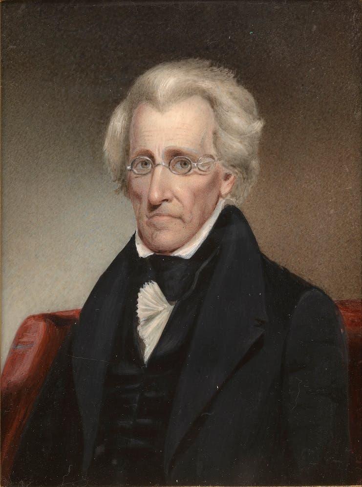 صورة للرئيس أندرو جاكسون مرتديا نظارته