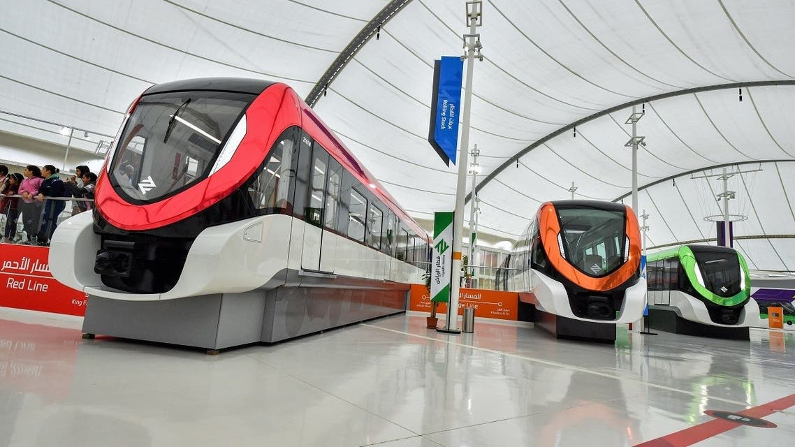 This picture taken on December 9, 2019 shows a view of the driverless rolling stock mockups of the new Riyadh Metro in the Saudi capital. (AFP)