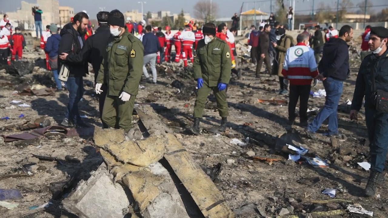آثار باقی مانده هواپیمای سرنگون شده اکراینی