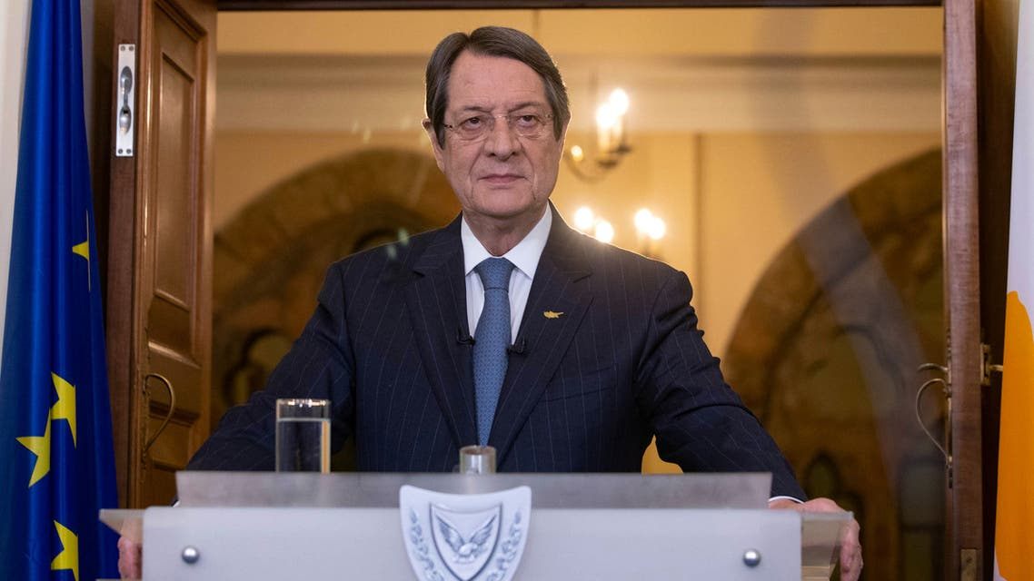 A handout picture provided by the Cypriot government's Press and Information Office (PIO) shows President Nicos Anastasiades announcing the stages of the lifting of some lockdown measures that had been implemented in the country in order to control the spread of the novel coronavirus, at the presidential palace in the capital Nicosia on April 29, 2020. The Republic of Cyprus, which controls the southern two-thirds of the divided eastern Mediterranean island, has recorded 843 cases including 15 deaths from the novel coronavirus since early March.