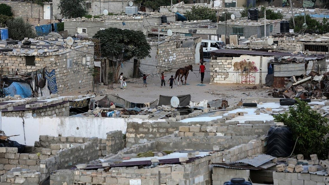 A general view shows an impoverished neighbourhood of the Khan Younis refugee camp in southern Gaza Strip on August 25, 2018. (AFP)