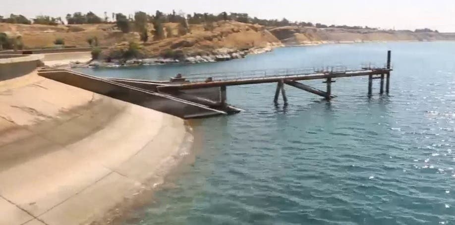 Water shortage in the Euphrates River dam in Syria. (Screengrab)