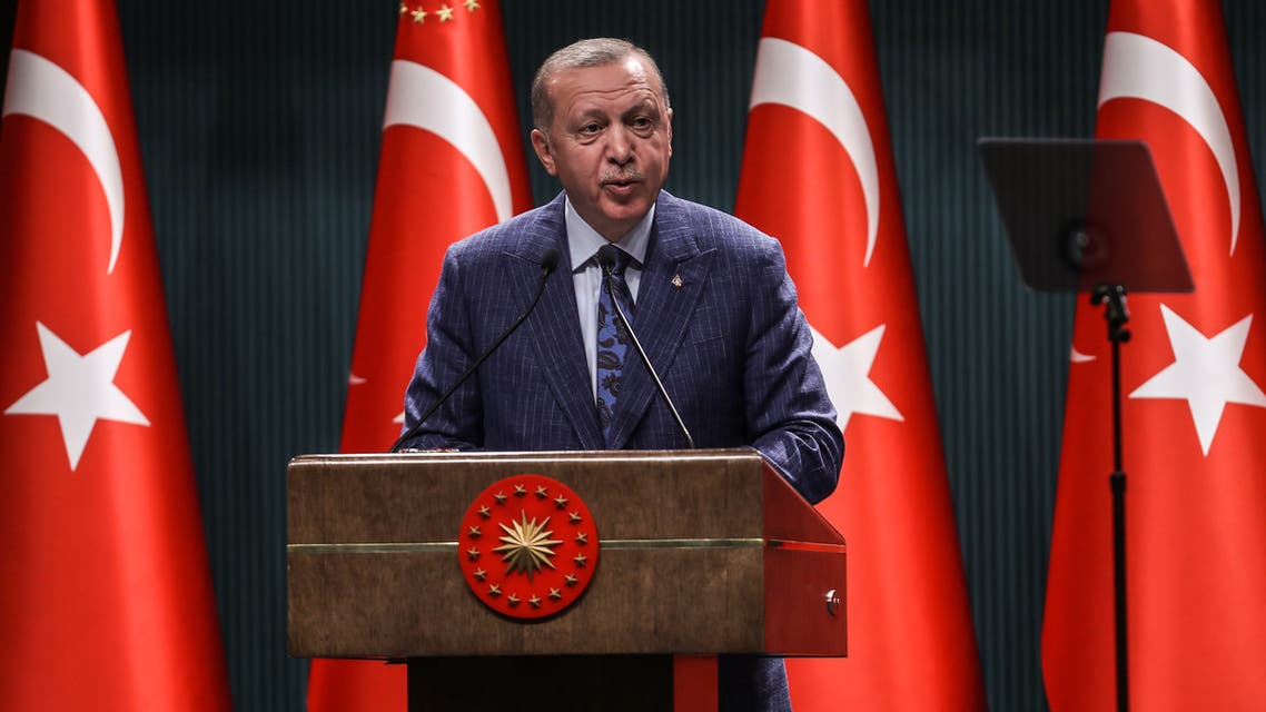 Turkish President Recep Tayyip Erdogan speaks during a press conference after the Cabinet Meeting at the Presidential Complex in Ankara on June 29, 2020.