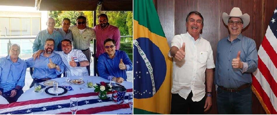 صورتان من الغداء الذي دعت اليه السفارة الأميركية، بولسونارو مع السفير الأميركي ومع عدد من المدعين، والجميع بلا كمامة