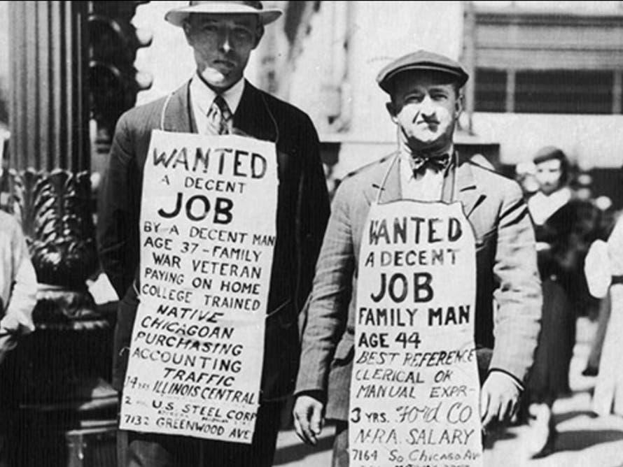 صورة لعاطلين عن العمل أثناء الكساد العظيم