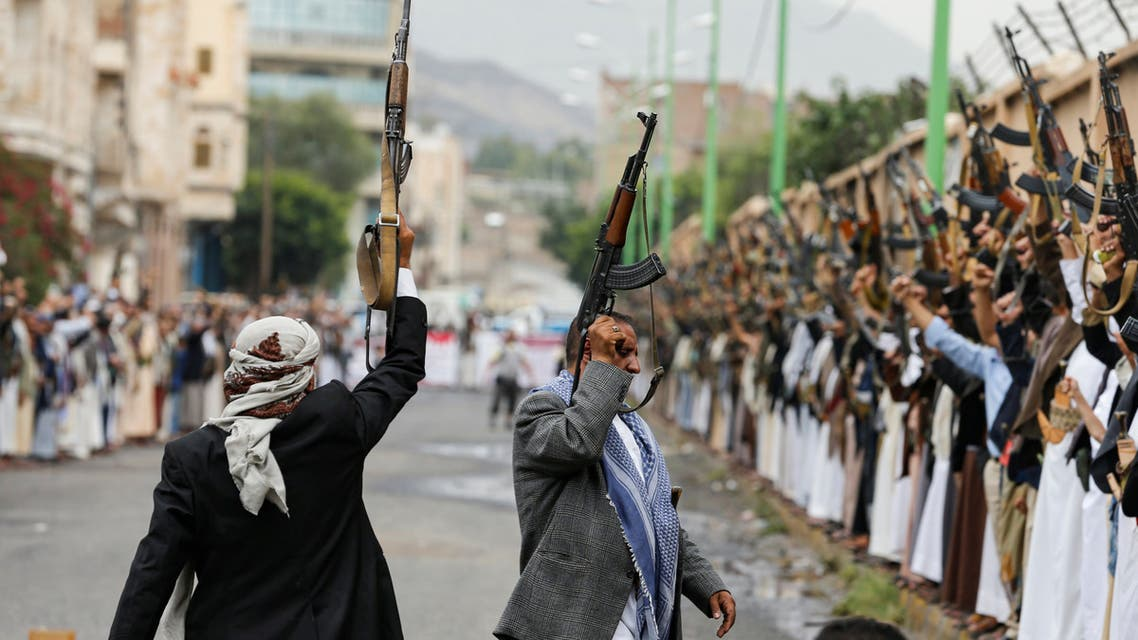 Houthi followers wave up their weapons during a gathering in Sanaa, Yemen July 6, 2020. REUTERS/Khaled Abdullah