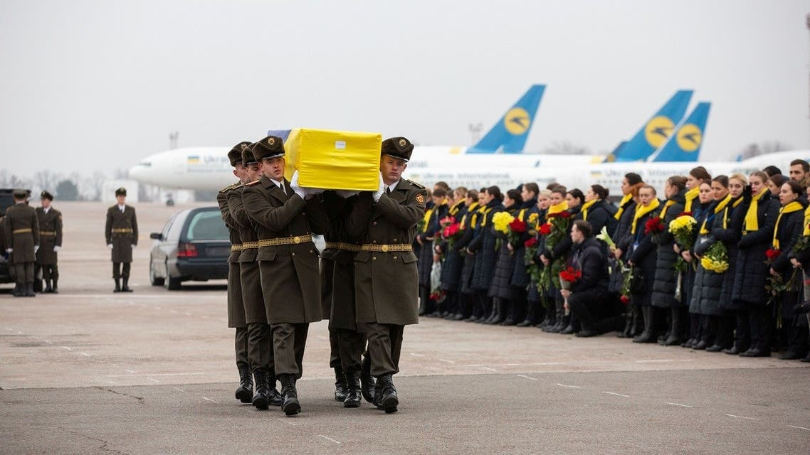 Memorial ceremony for the Ukrainian victims of Iran plane crash at the Boryspil International Airport, outside Kiev. (Reuters)