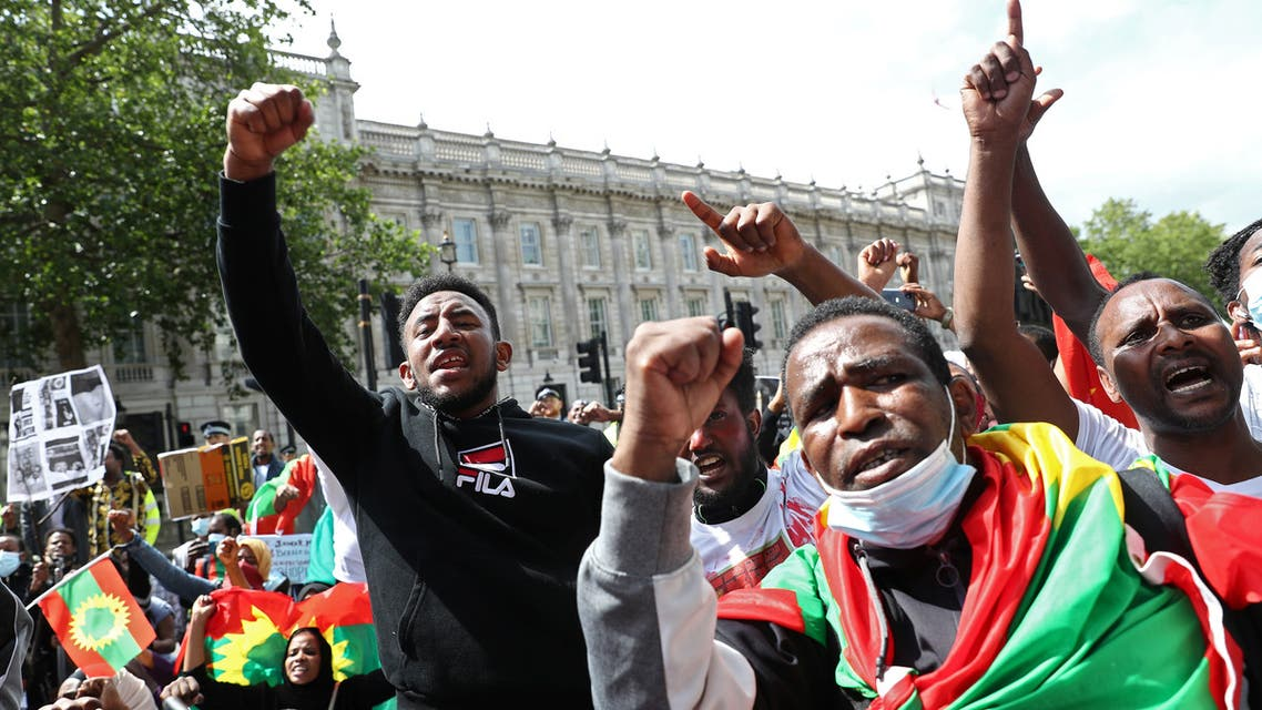 People gather to protest against the treatment of Ethiopia's ethnic Oromo group, outside Downing Street in London, Britain, July 3, 2020. (Reuters)