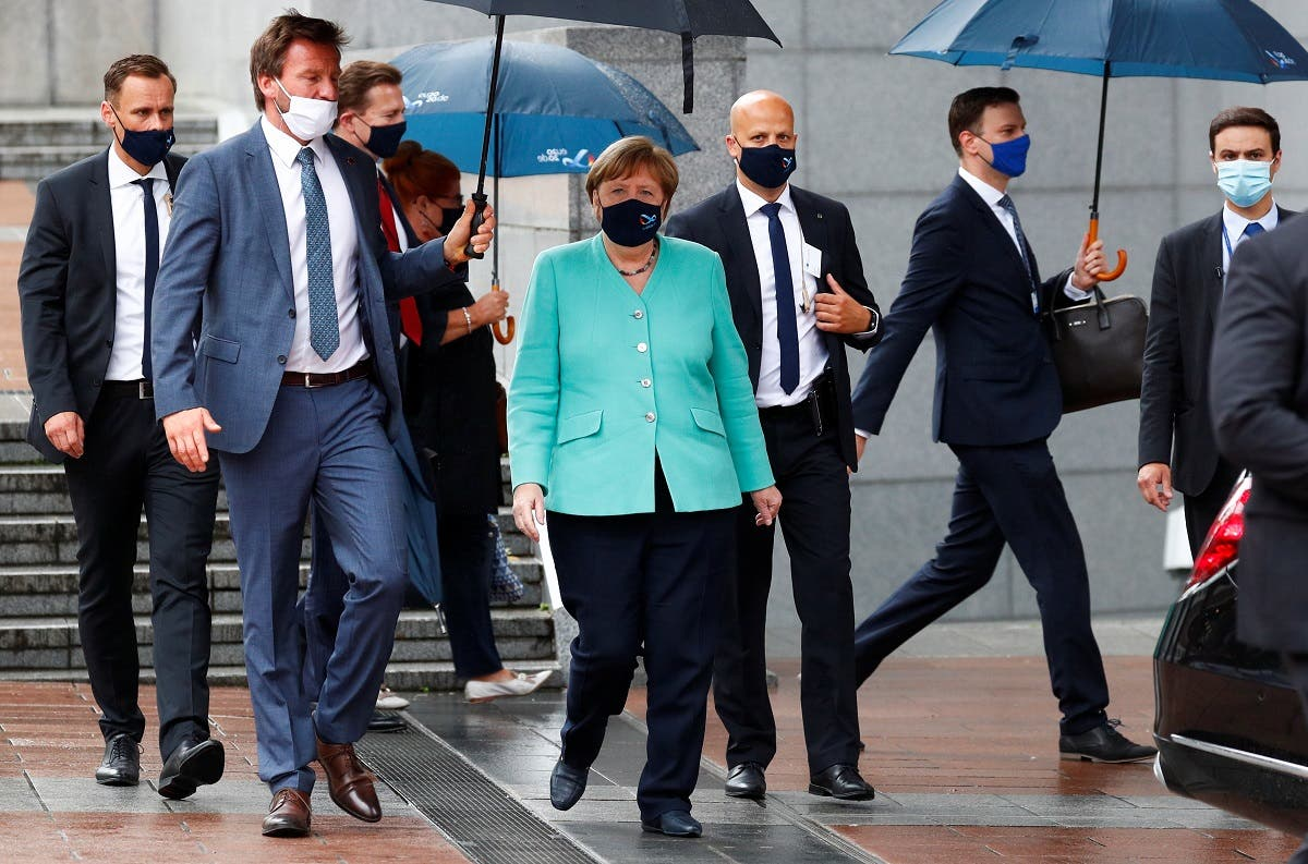 German Chancellor Angela Merkel leaves the European Parliament after attending a plenary session in Brussels, Belgium, on July 8, 2020. (Reuters)