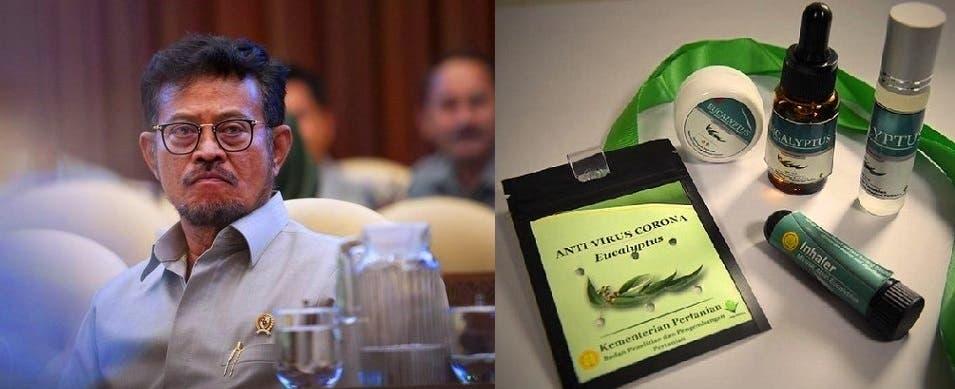 وزير الزراعة شهرول ياسين ليمبو، صاحب فكرة مكافحة المستجد الكوروني، بلف الأوراق حول الأعناق