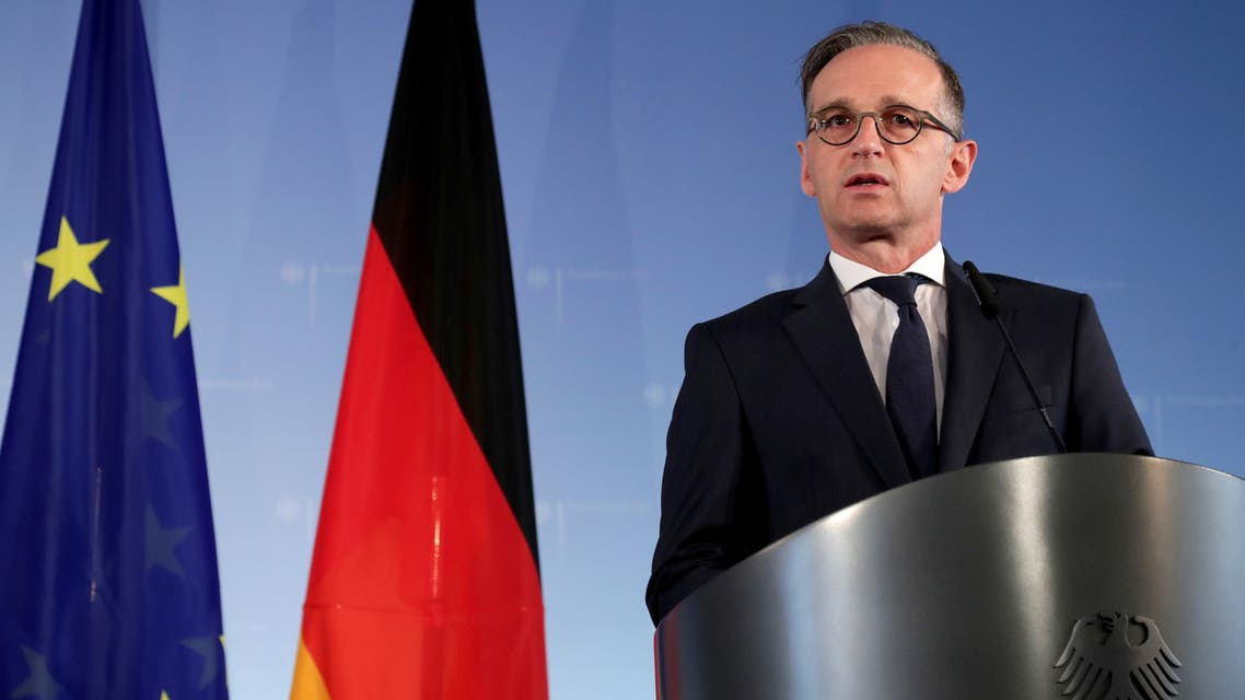German Foreign Minister Heiko Maas and Turkish Foreign Minister Mevlut Cavusoglu (not pictured) address the media during a joint news conference after a meeting in Berlin, Germany July 2, 2020. Michael Sohn/Pool via REUTERS