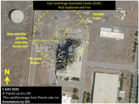 Figure 6.  The ICAC Building as it appeared in this July 5, 2020 Planet Labs satellite image as published by CNN and AP, showing the location of a possible crater and the approximate blast and damage area from the explosion and fire. (Screengrab: Institute for Science and International Security report.)