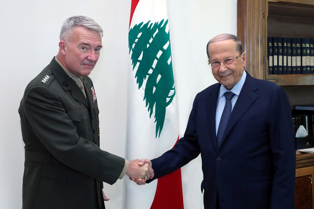 CENTCOM Commander Gen. Kenneth McKenzie meets with Lebanese President Michel Aoun, in Beirut, July 8, 2020. (AP)