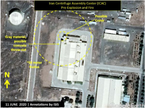 Figure 4. The ICAC Building as it appeared in this June 11, 2020. CNES/Airbus satellite image as found on Google Earth showing the subsequent location of a possible crater and the approximate blast and damage area from the explosion and fire. (Screengrab: Institute for Science and International Security report.)