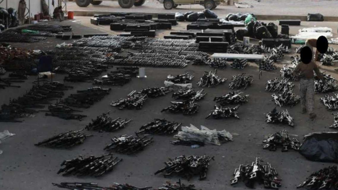 بومبيو ينشر صورة للأسلحة الإيرانية المضبوطة