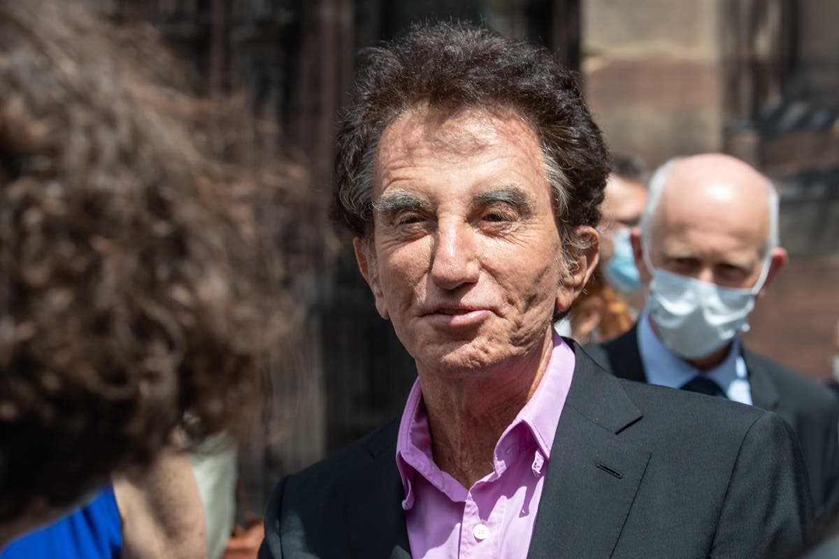 Former French Culture Minister Jack Lang reacts after visiting Notre-Dame cathedral, on July 10, 2020 in Strasbourg, eastern France. (AFP)