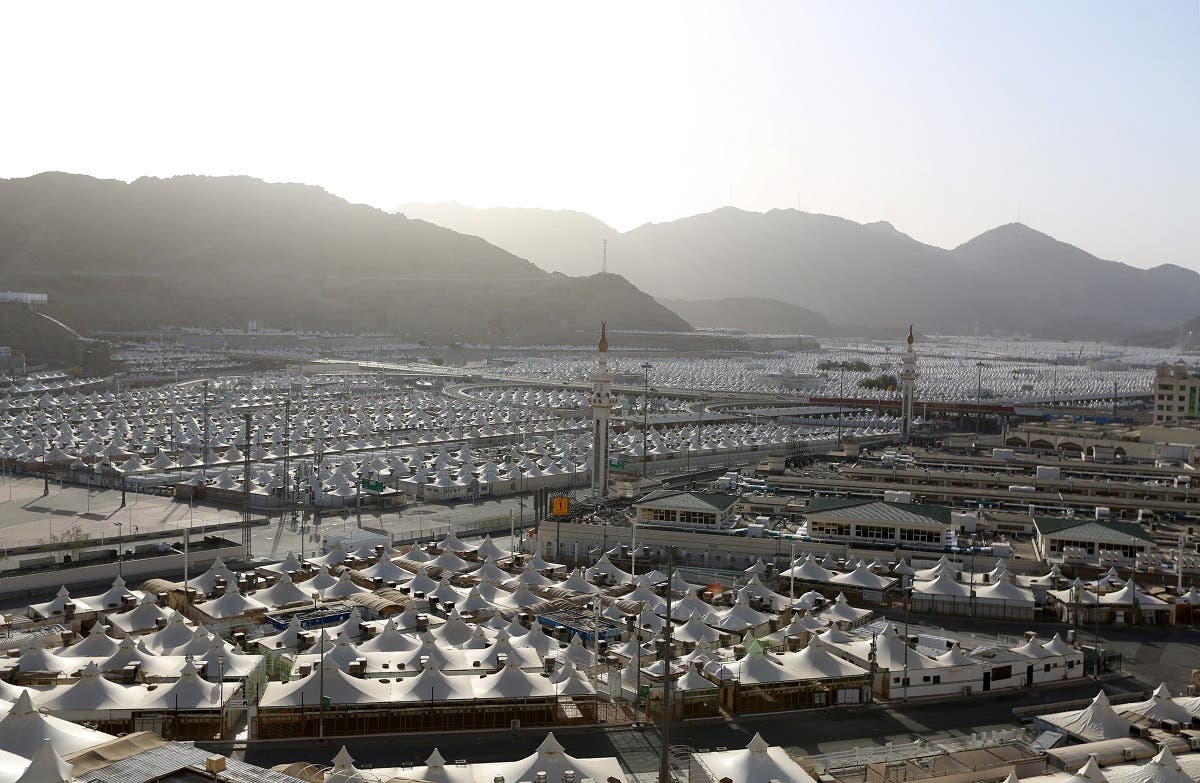 A picture taken June 23, 2020 shows pilgrims housing tents located between the holy sites of Arafat and Mina in Saudi Arabia's holy city of Mecca. (AFP)
