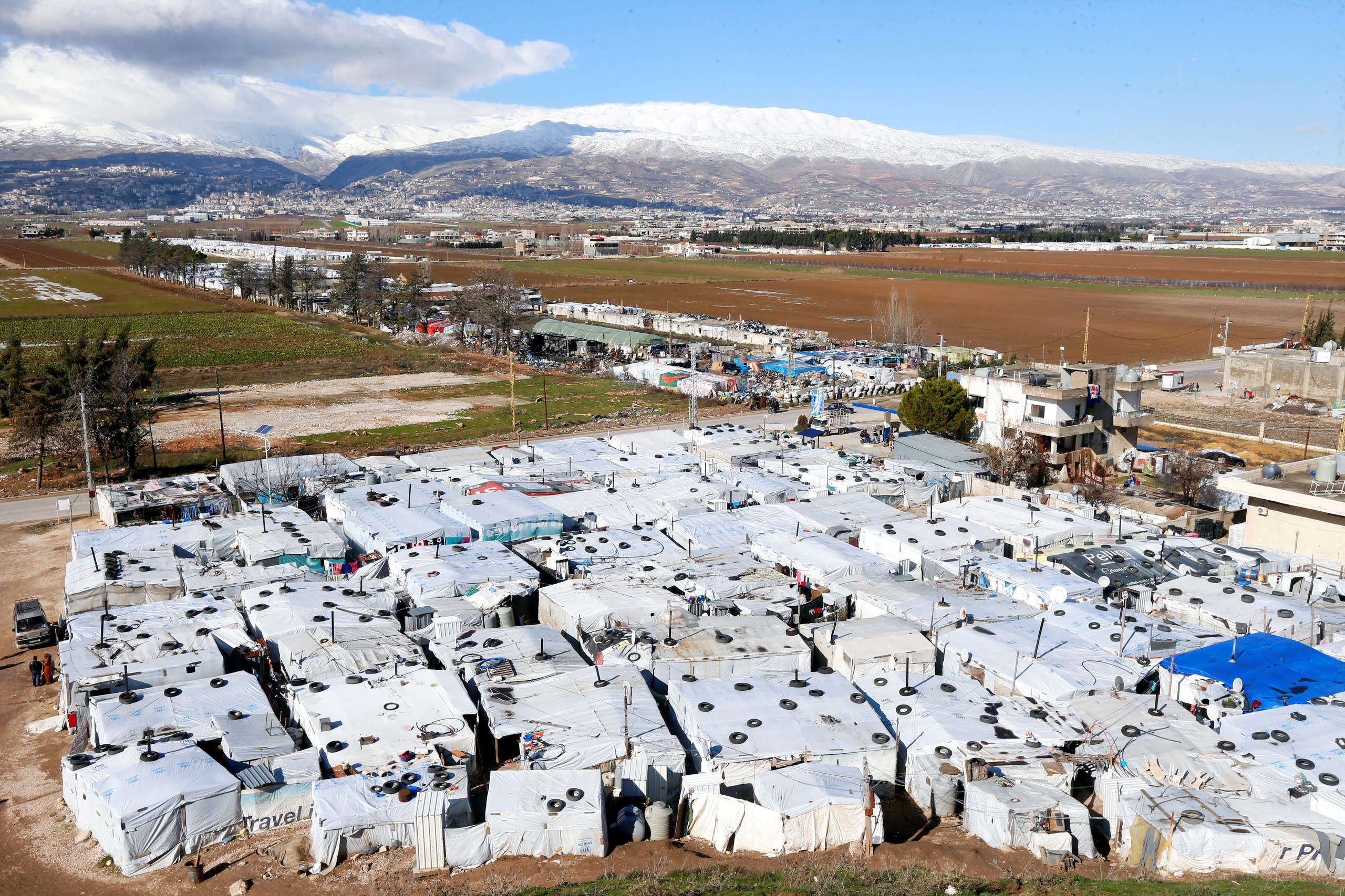 A general view of tents at a camp in Bar Elias, in the Bekaa Valley, Lebanon January 13, 2020. (Reuters)