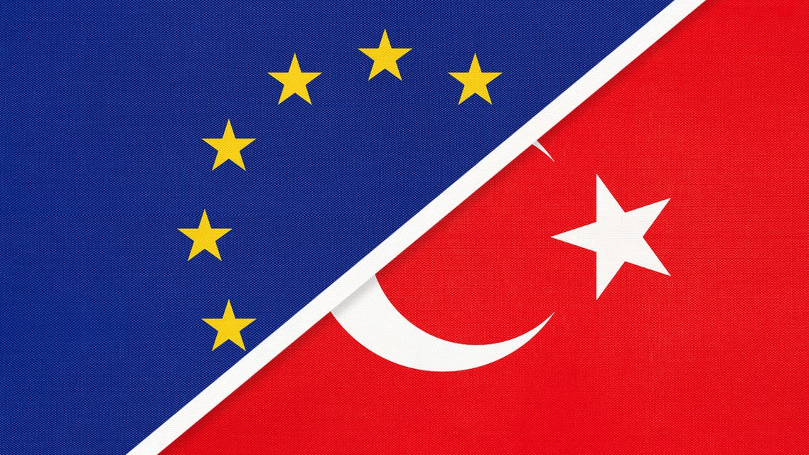 European Union or EU and Turkey national flag from textile. Symbol of the Council of Europe association. stock illustration