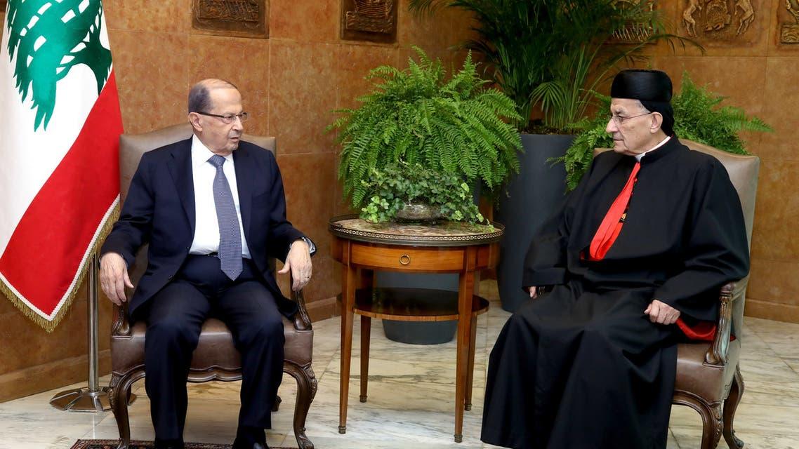 A handout picture provided by the Lebanese photo agency Dalati and Nohra on November 9, 2017, shows Lebanese President Michel Aoun meeting with Lebanon's Cardinal Mar Bechara Boutros al-Rai. (AFP)