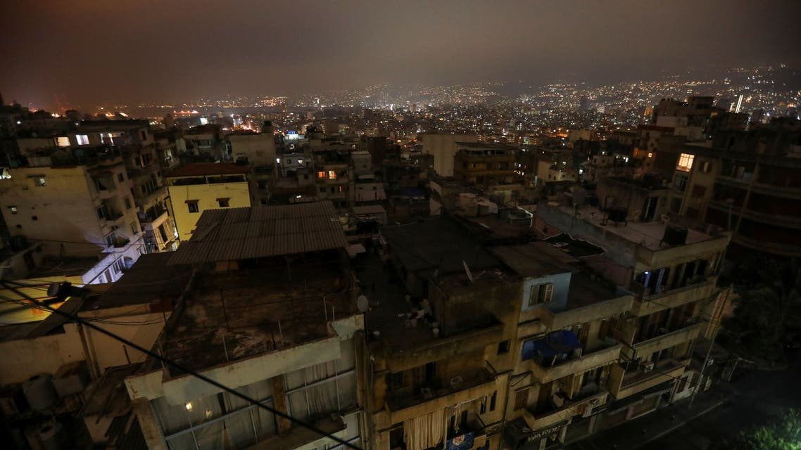 Buildings are seen at night during a power cut in some areas in Beirut, Lebanon July 6, 2020. Picture taken July 6, 2020. REUTERS/Mohamed Azakir