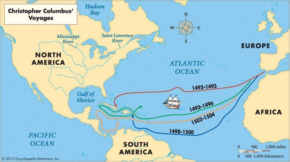 خريطة تجسد رحلات كريستوف كولومبوس